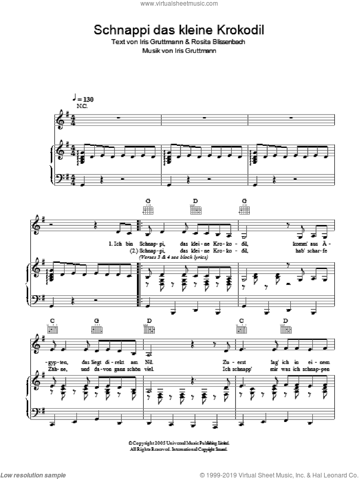Schnappi das kleine Krokodil sheet music for voice, piano or guitar by Rosita Blissenbach. Score Image Preview.