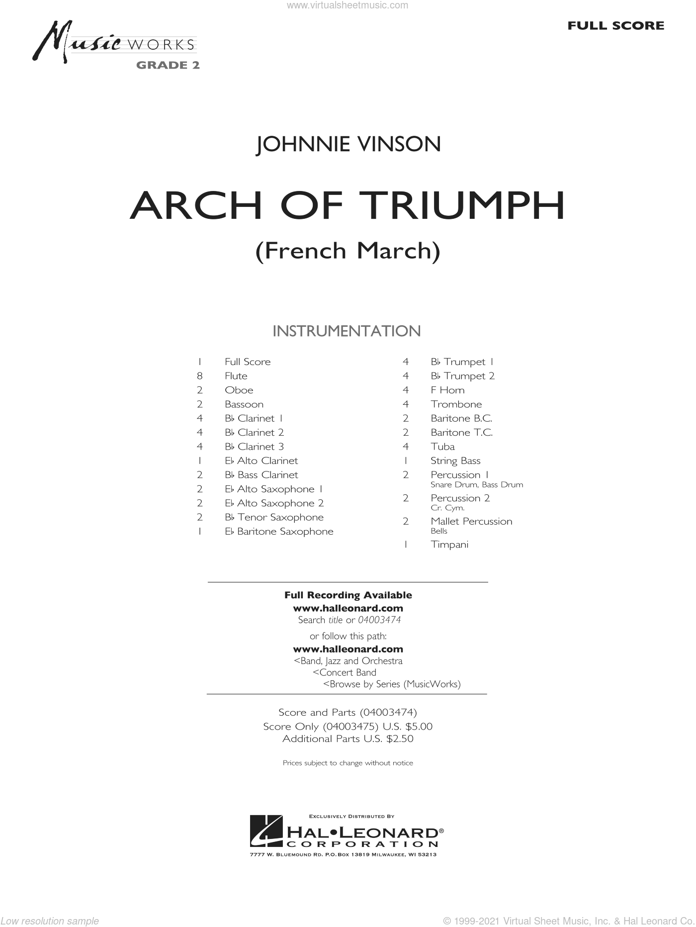 Arch of Triumph (French March) sheet music for concert band (full score) by Johnnie Vinson