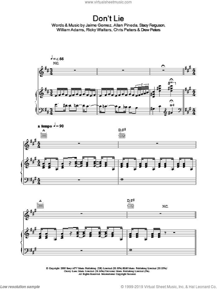 Don't Lie sheet music for voice, piano or guitar by Will Adams