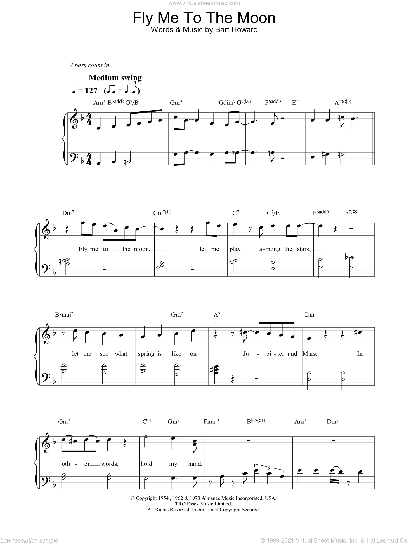 Fly Me To The Moon (In Other Words) sheet music for voice, piano or guitar by Bart Howard, Diana Krall and Frank Sinatra. Score Image Preview.