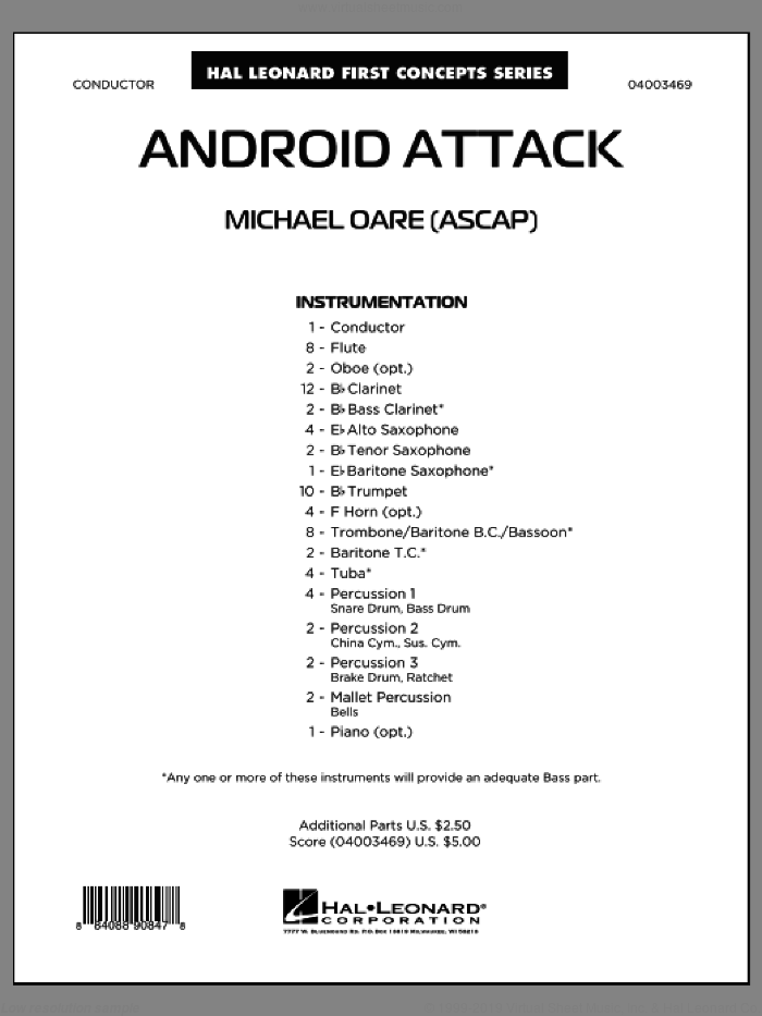 Android Attack sheet music for concert band (full score) by Michael Oare
