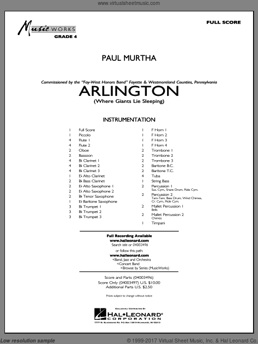 Arlington (Where Giants Lie Sleeping) (COMPLETE) sheet music for concert band by Paul Murtha