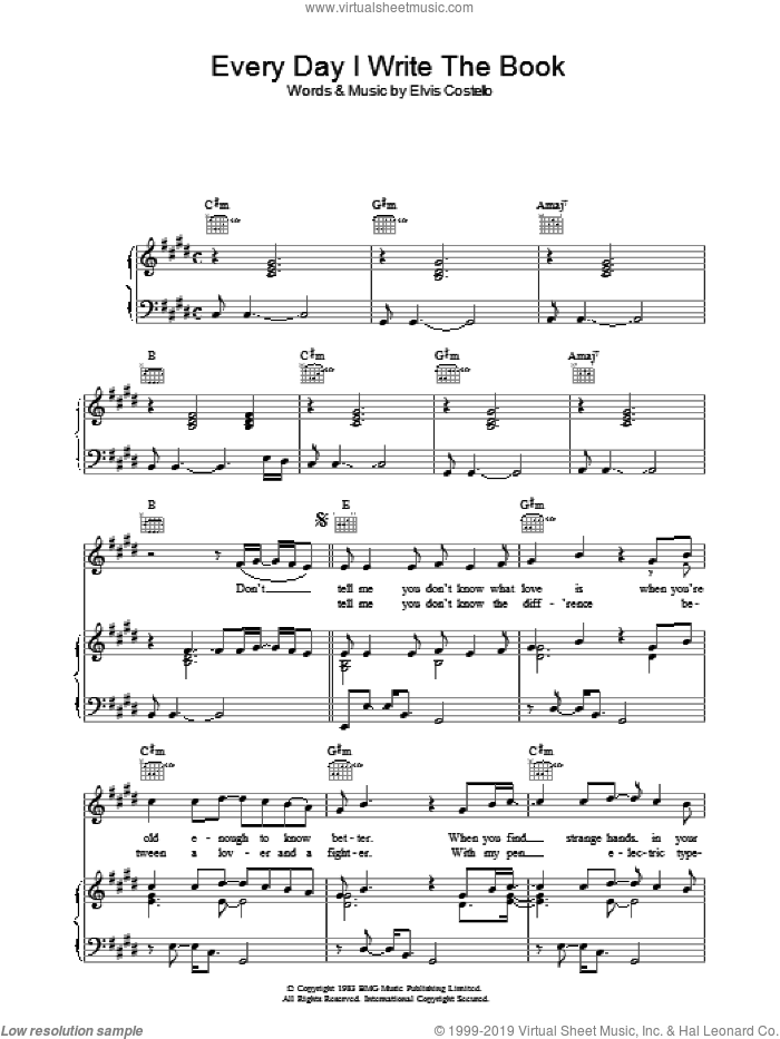 Every Day I Write The Book sheet music for voice, piano or guitar by Elvis Costello, intermediate skill level