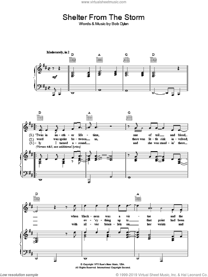 Shelter From The Storm sheet music for voice, piano or guitar by Bob Dylan. Score Image Preview.