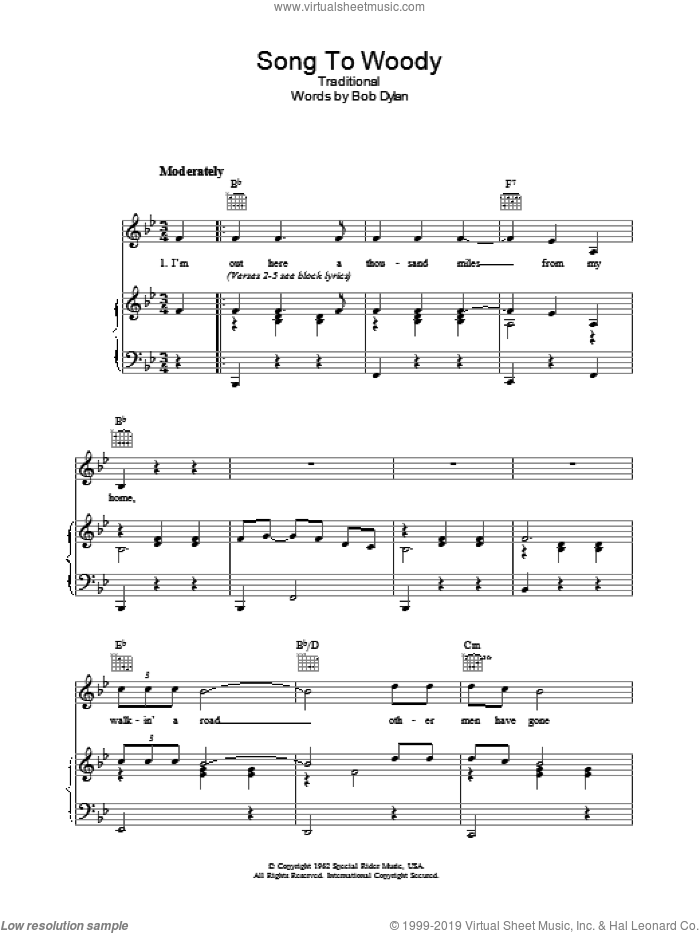 Song To Woody sheet music for voice, piano or guitar by Bob Dylan and Miscellaneous, intermediate. Score Image Preview.
