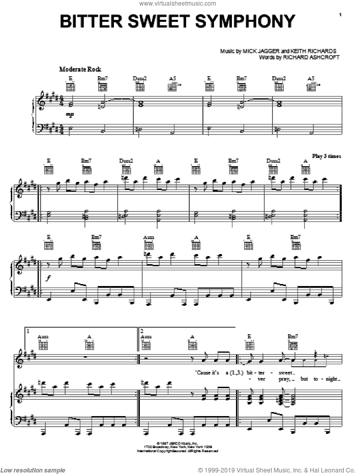 Bitter Sweet Symphony sheet music for voice, piano or guitar by The Verve, Keith Richards, Mick Jagger and Richard Ashcroft, intermediate skill level