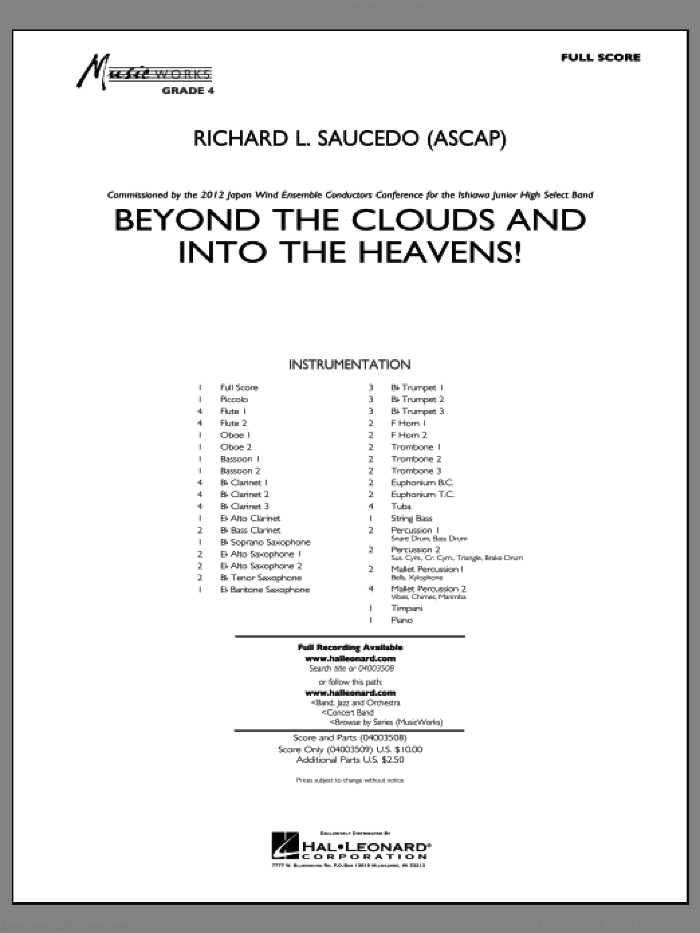 Beyond the Clouds and Into the Heavens! sheet music for concert band (full score) by Richard L. Saucedo