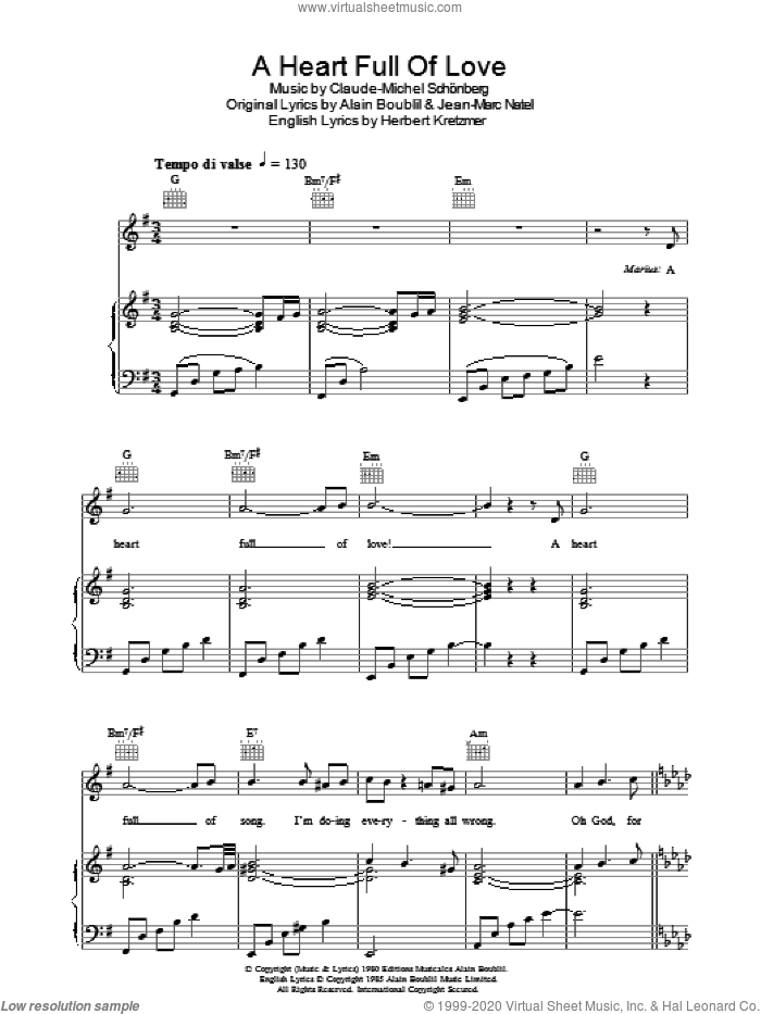A Heart Full Of Love (from Les Miserables) sheet music for voice, piano or guitar by Alain Boublil, Claude-Michel Schonberg, Herbert Kretzmer and Jean-Marc Natel, intermediate skill level