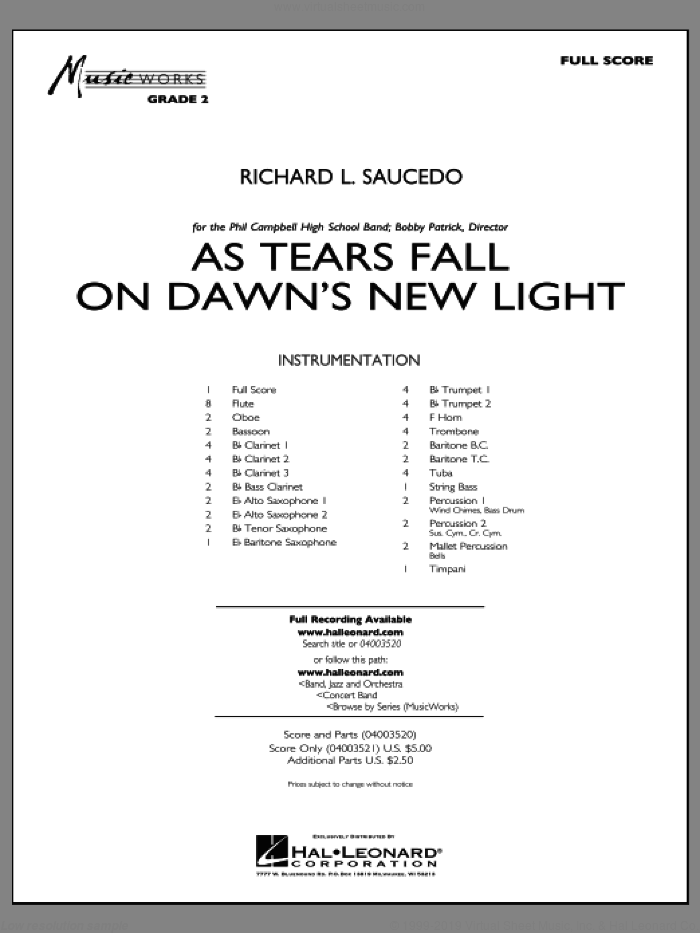 As Tears Fall on Dawn's New Light (COMPLETE) sheet music for concert band by Richard L. Saucedo, intermediate