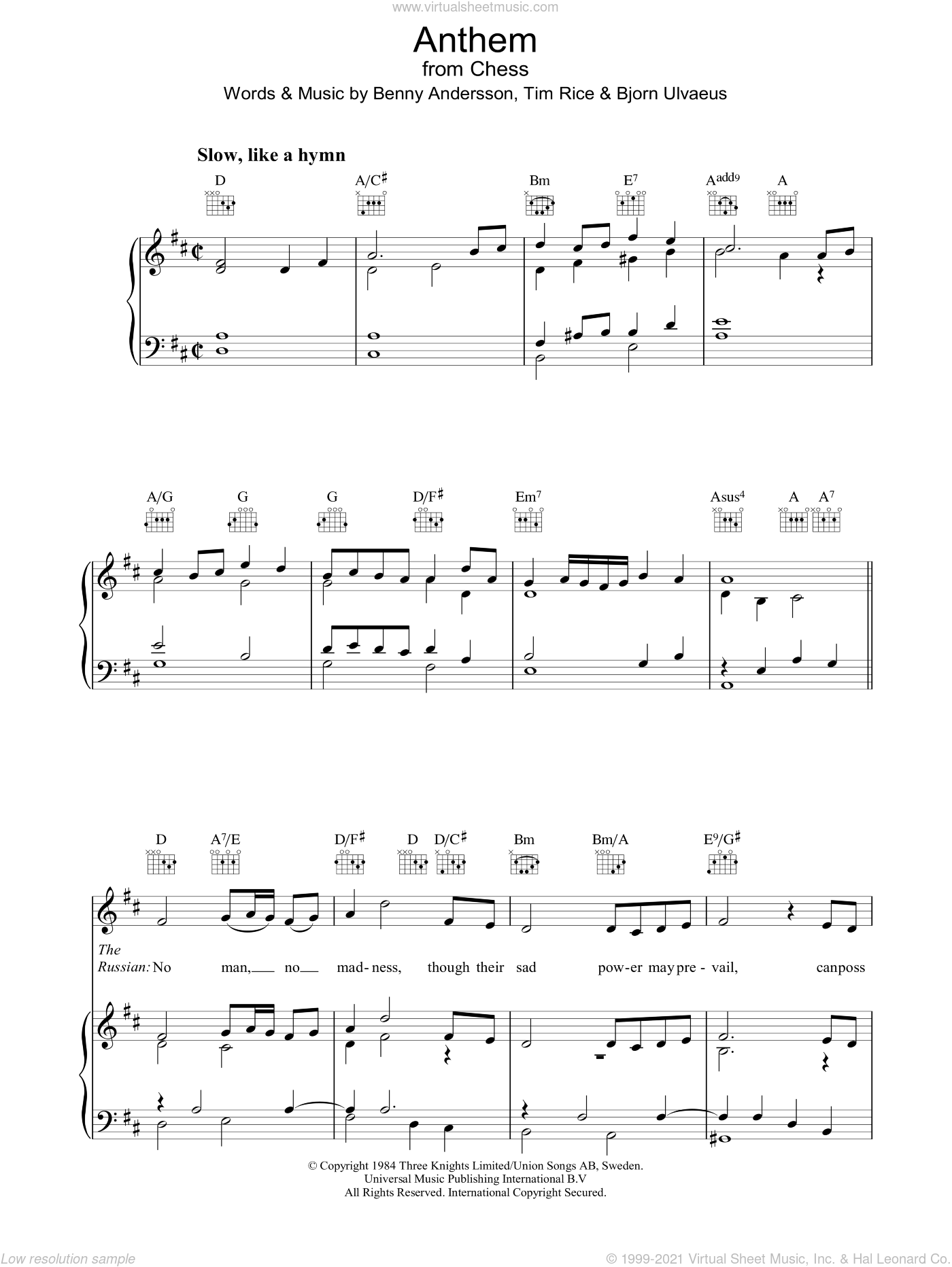 Anthem (from Chess) sheet music for voice, piano or guitar by Benny Andersson, Bjorn Ulvaeus, Miscellaneous and Tim Rice. Score Image Preview.