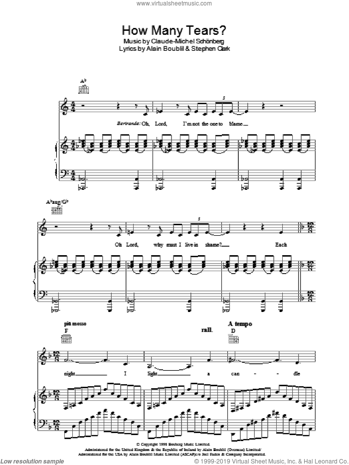 How Many Tears? (from Martin Guerre) sheet music for voice, piano or guitar by Steve Clark