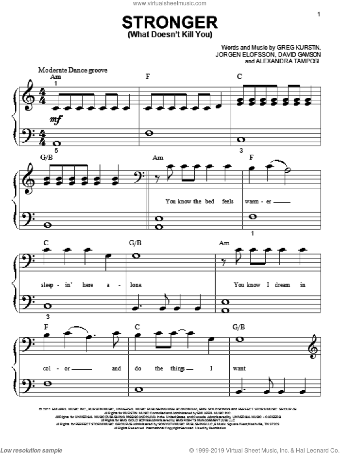 Stronger (What Doesn't Kill You) sheet music for piano solo (big note book) by Kelly Clarkson