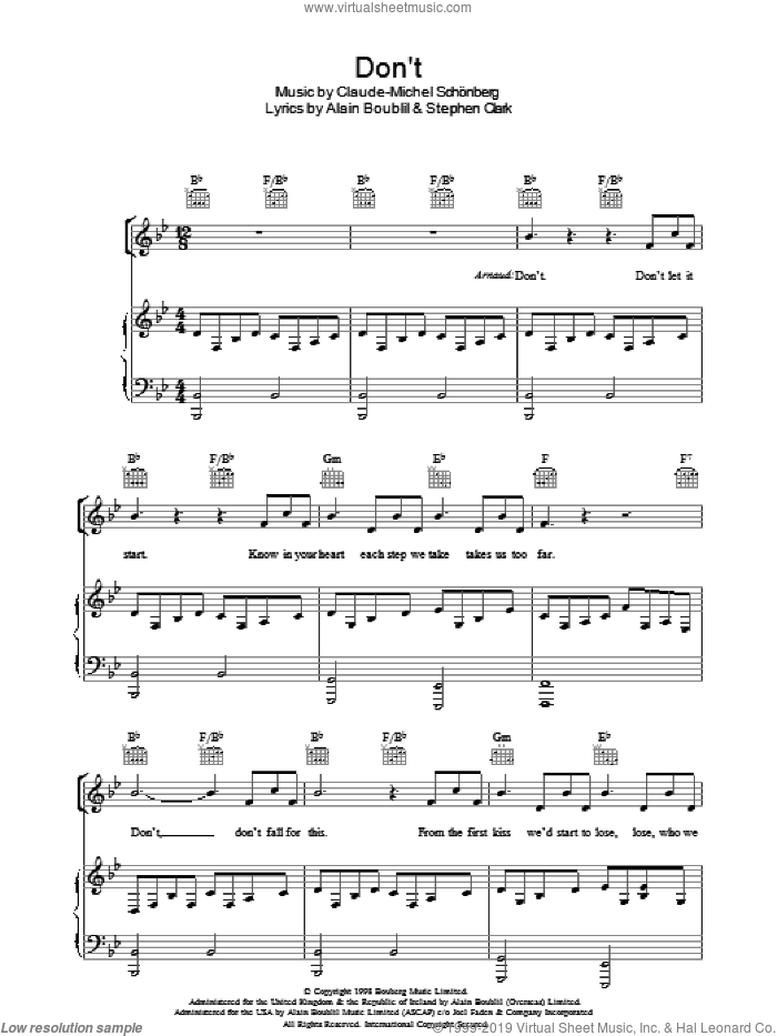 Don't sheet music for voice, piano or guitar by Steve Clark, Alain Boublil and Claude-Michel Schonberg. Score Image Preview.