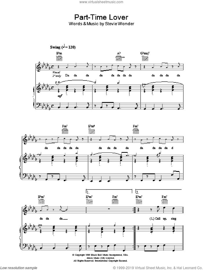 Part-Time Lover sheet music for voice, piano or guitar by Stevie Wonder, intermediate