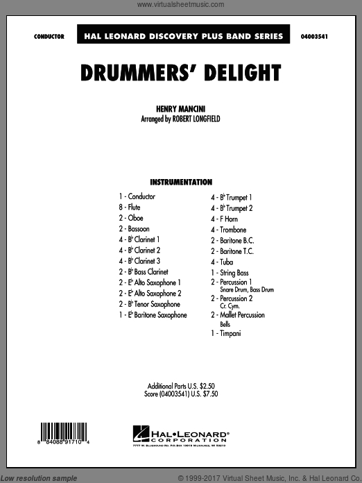 Drummers' Delight (COMPLETE) sheet music for concert band by Henry Mancini