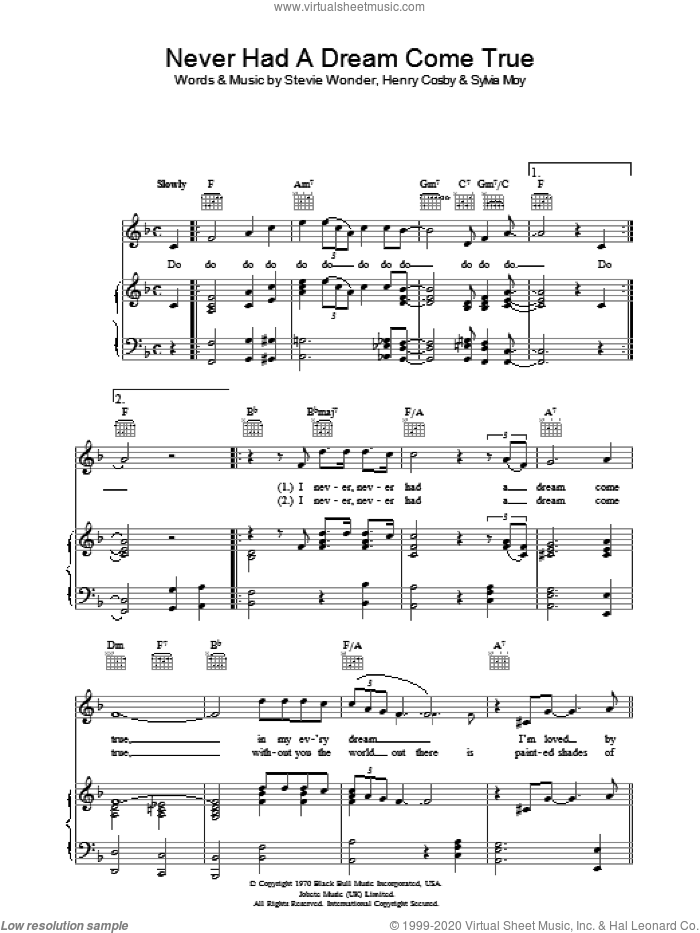 Never Had A Dream Come True sheet music for voice, piano or guitar by Sylvia Moy, Stevie Wonder and Henry Cosby. Score Image Preview.
