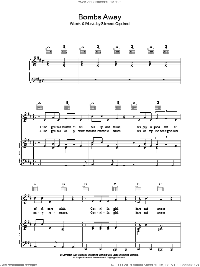 Bombs Away sheet music for voice, piano or guitar by Stewart Copeland and The Police. Score Image Preview.