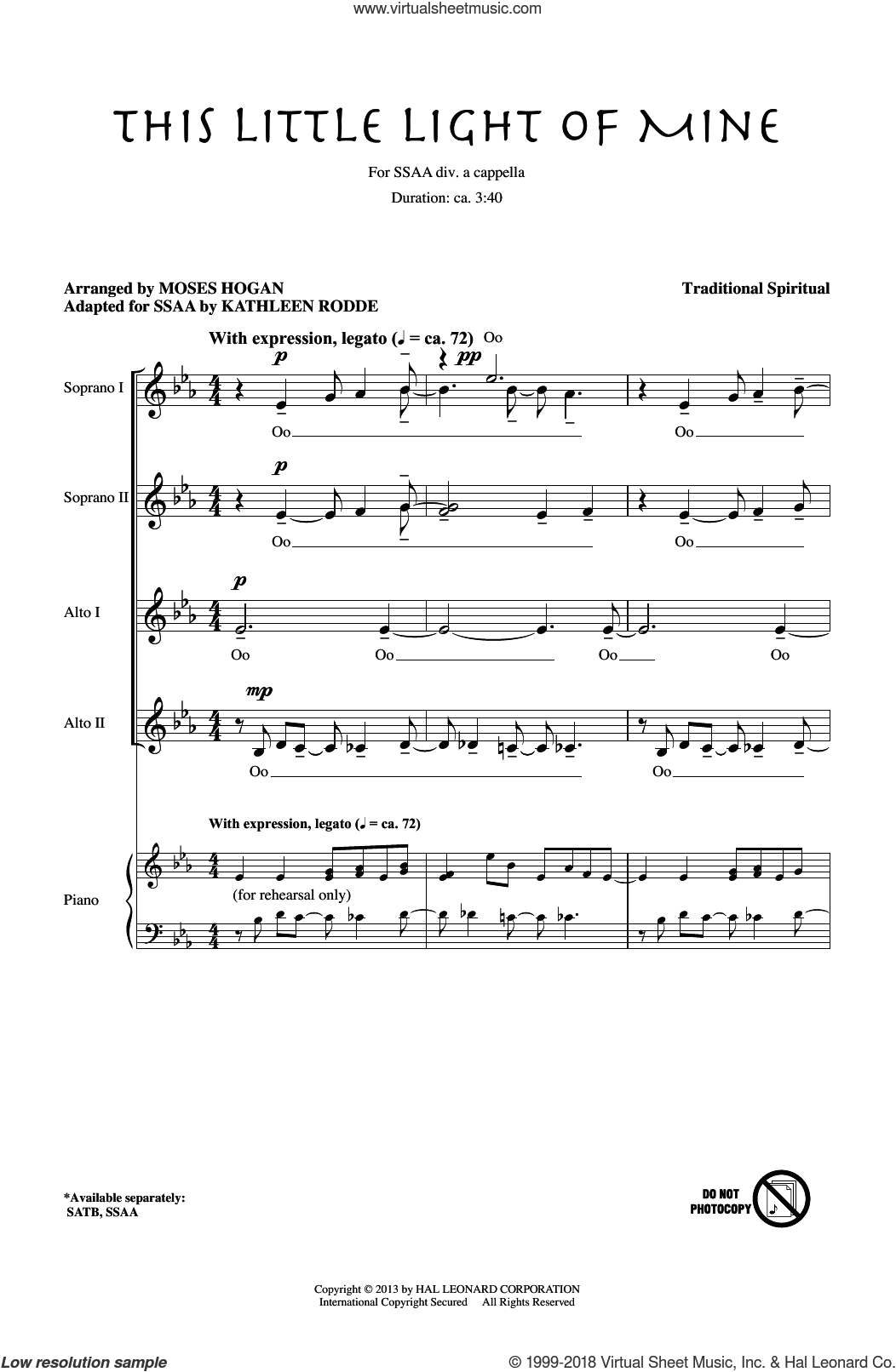 This Little Light Of Mine (arr. Moses Hogan) sheet music for choir (SSA: soprano, alto) by Moses Hogan, Kathleen Rodde and Miscellaneous, intermediate skill level