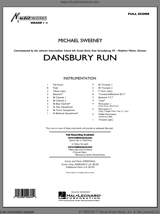 Dansbury Run (COMPLETE) sheet music for concert band by Michael Sweeney