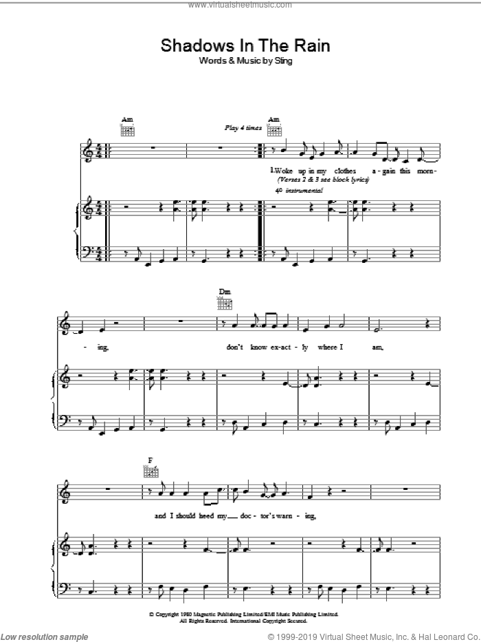 Shadows In The Rain sheet music for voice, piano or guitar by The Police and Sting, intermediate. Score Image Preview.