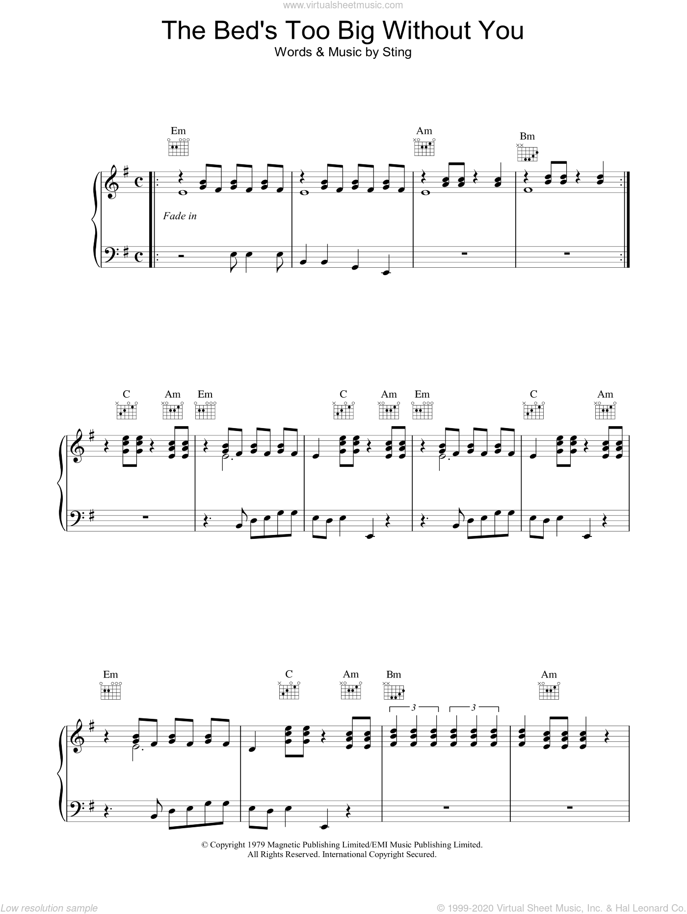 The Bed's Too Big Without You sheet music for voice, piano or guitar by The Police and Sting, intermediate skill level