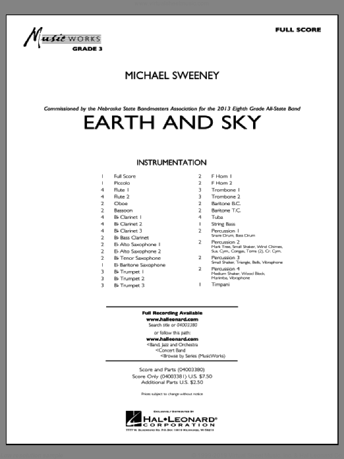 Earth and Sky (COMPLETE) sheet music for concert band by Michael Sweeney, intermediate concert band. Score Image Preview.