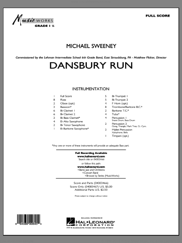 Dansbury Run (COMPLETE) sheet music for concert band by Michael Sweeney, intermediate. Score Image Preview.