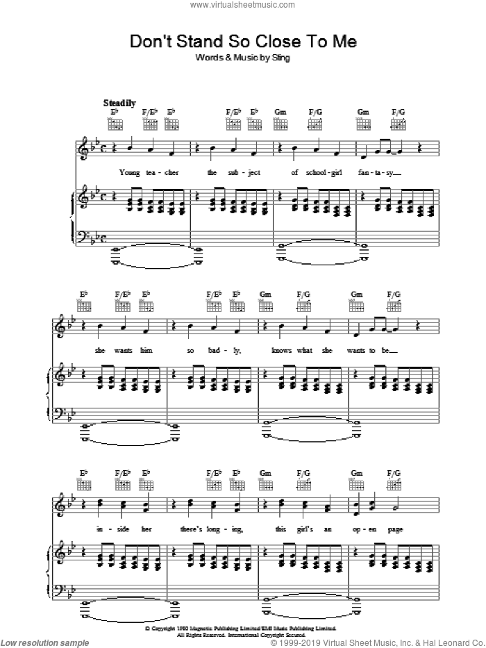 Don't Stand So Close To Me sheet music for voice, piano or guitar by The Police and Sting, intermediate skill level