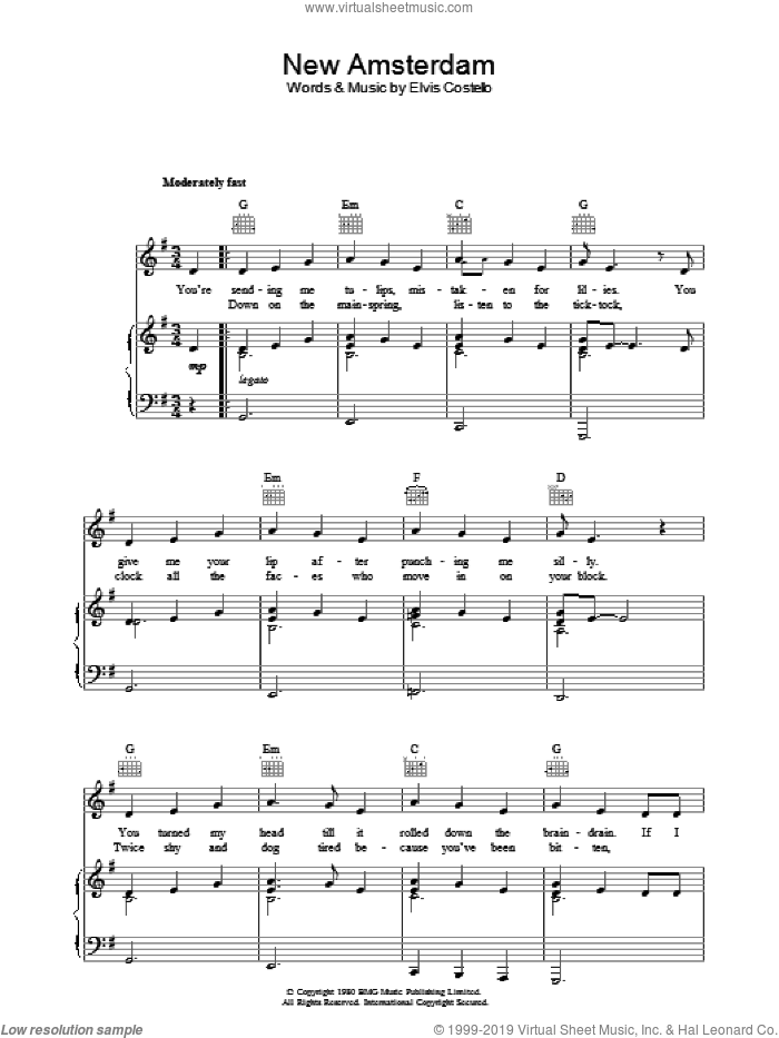 New Amsterdam sheet music for voice, piano or guitar by Elvis Costello. Score Image Preview.