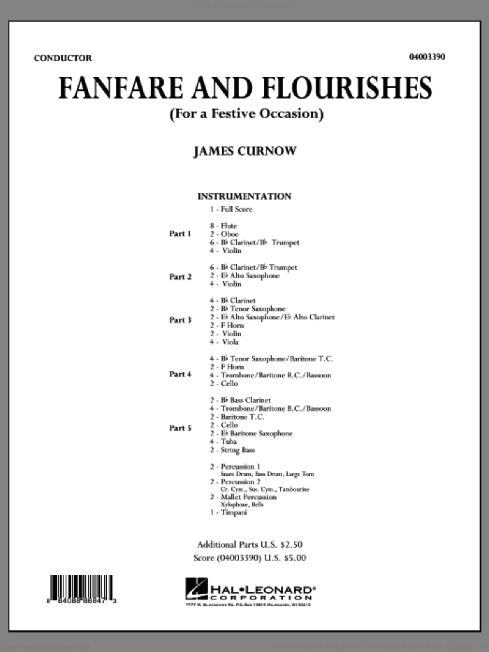 Fanfare and Flourishes (for a Festive Occasion) (COMPLETE) sheet music for concert band by James Curnow, intermediate skill level