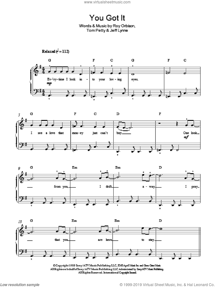 You Got It sheet music for piano solo by Roy Orbison, Jeff Lynne and Tom Petty, easy skill level