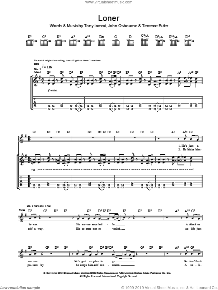 Loner sheet music for guitar (tablature) by Tony Iommi, Black Sabbath and Terrence Butler. Score Image Preview.