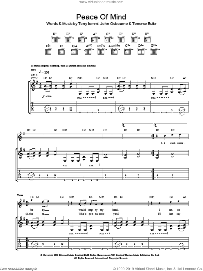 Peace Of Mind sheet music for guitar (tablature) by Black Sabbath. Score Image Preview.