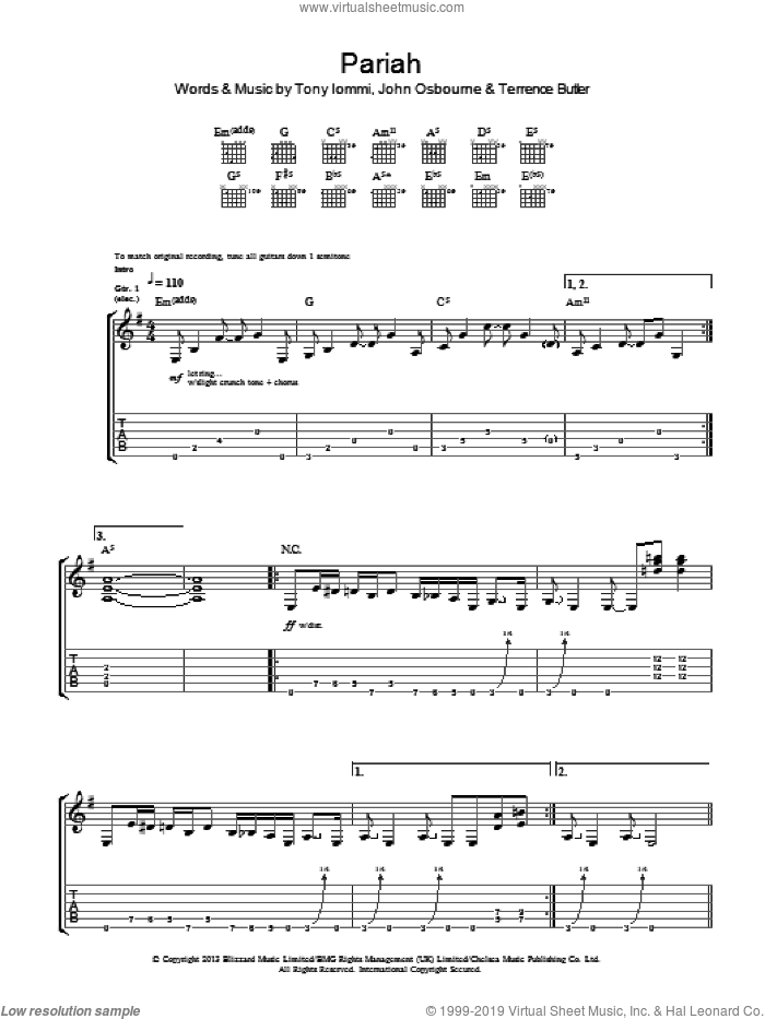 Pariah sheet music for guitar (tablature) by Tony Iommi, Black Sabbath and Terrence Butler. Score Image Preview.