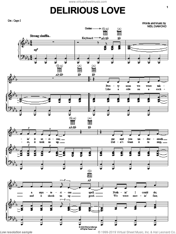 Delirious Love sheet music for voice, piano or guitar by Neil Diamond, intermediate skill level