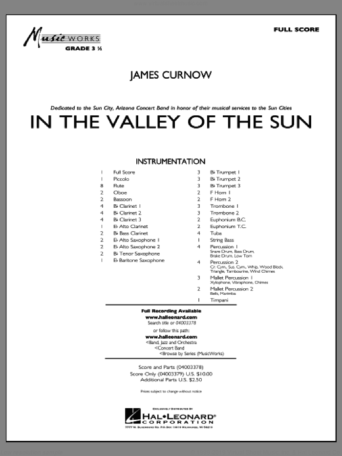 In the Valley of the Sun sheet music for concert band (full score) by James Curnow
