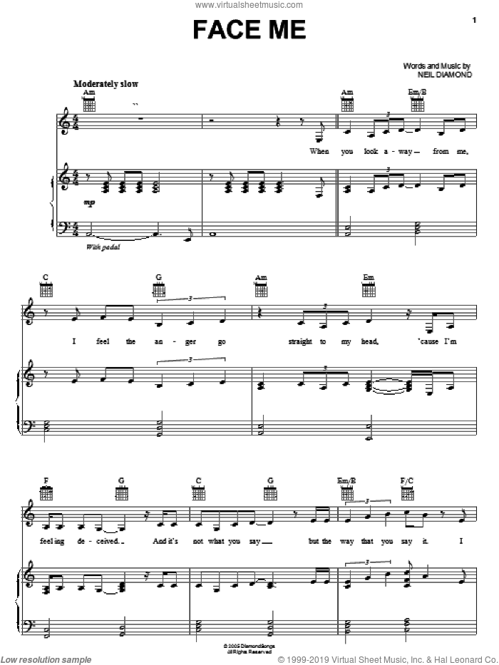 Face Me sheet music for voice, piano or guitar by Neil Diamond. Score Image Preview.