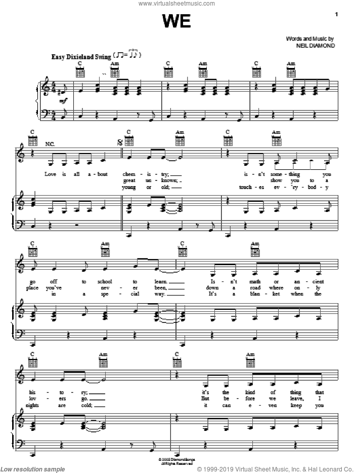 We sheet music for voice, piano or guitar by Neil Diamond, intermediate. Score Image Preview.