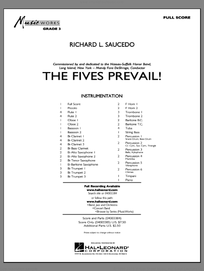 The Fives Prevail! sheet music for concert band (full score) by Richard L. Saucedo