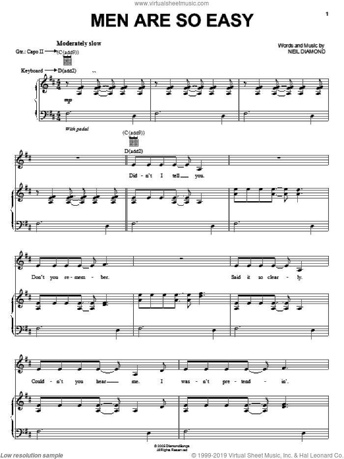 Men Are So Easy sheet music for voice, piano or guitar by Neil Diamond, intermediate voice, piano or guitar. Score Image Preview.