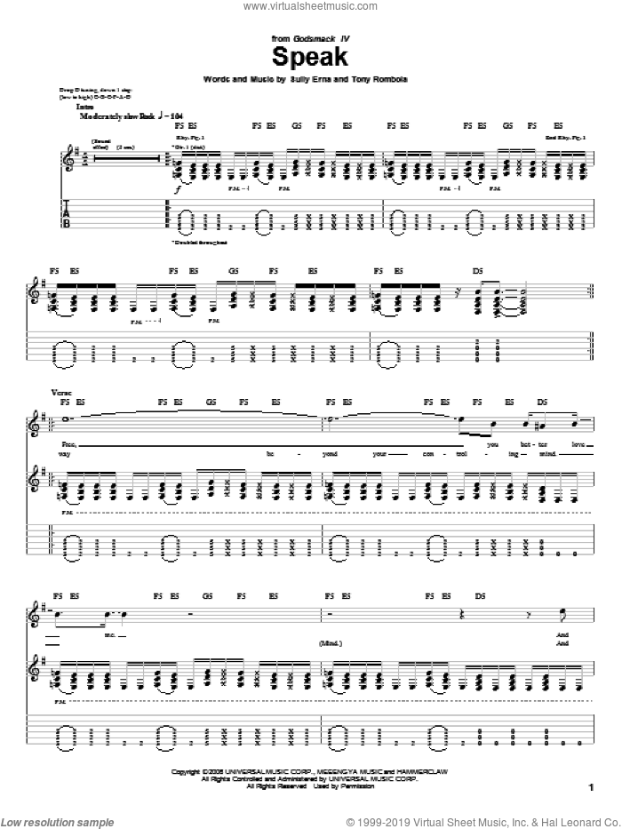Speak sheet music for guitar (tablature) by Tony Rombola and Sully Erna. Score Image Preview.