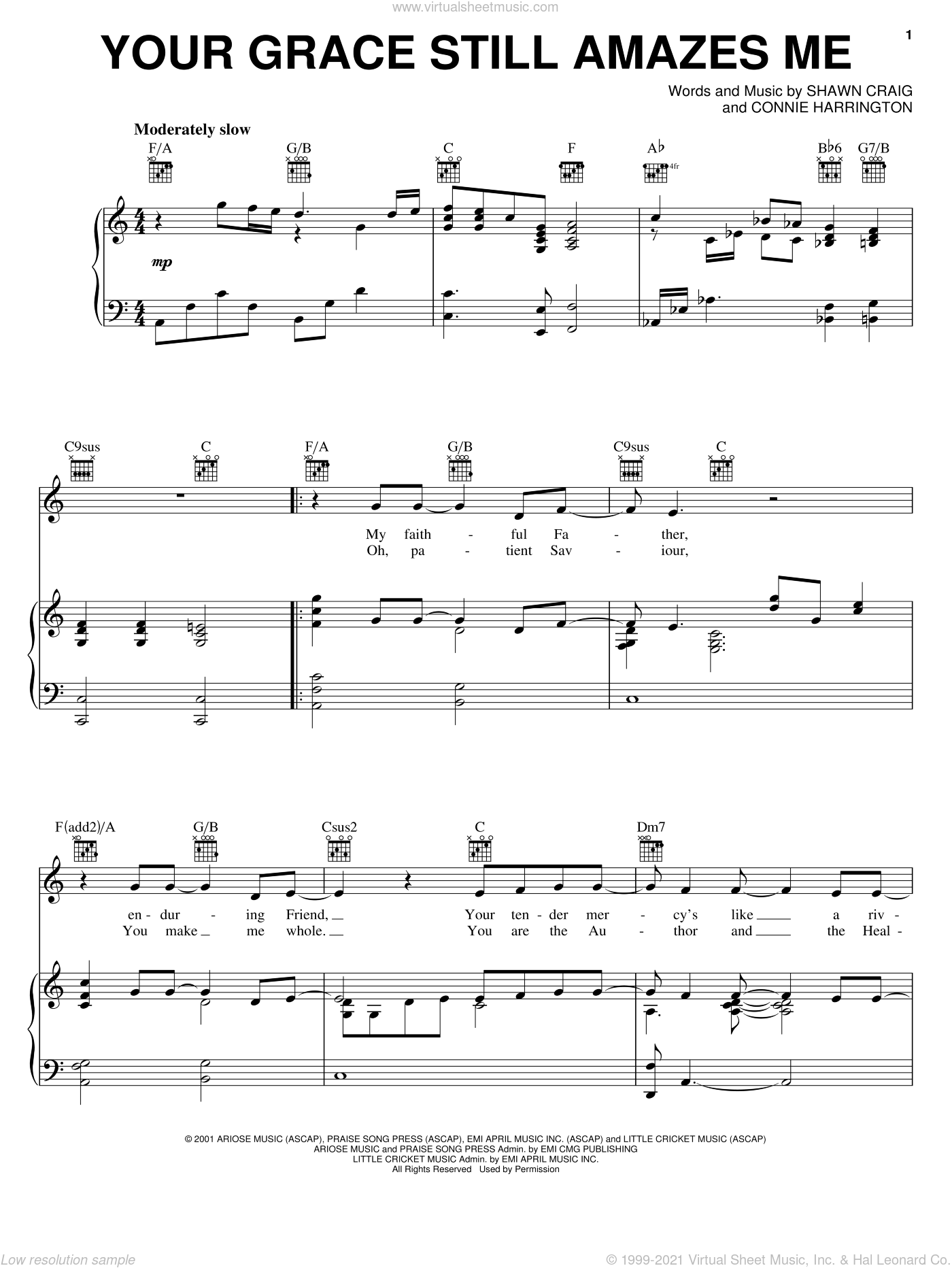 Your Grace Still Amazes Me sheet music for voice, piano or guitar by Shawn Craig, Phillips, Craig & Dean and Connie Harrington. Score Image Preview.