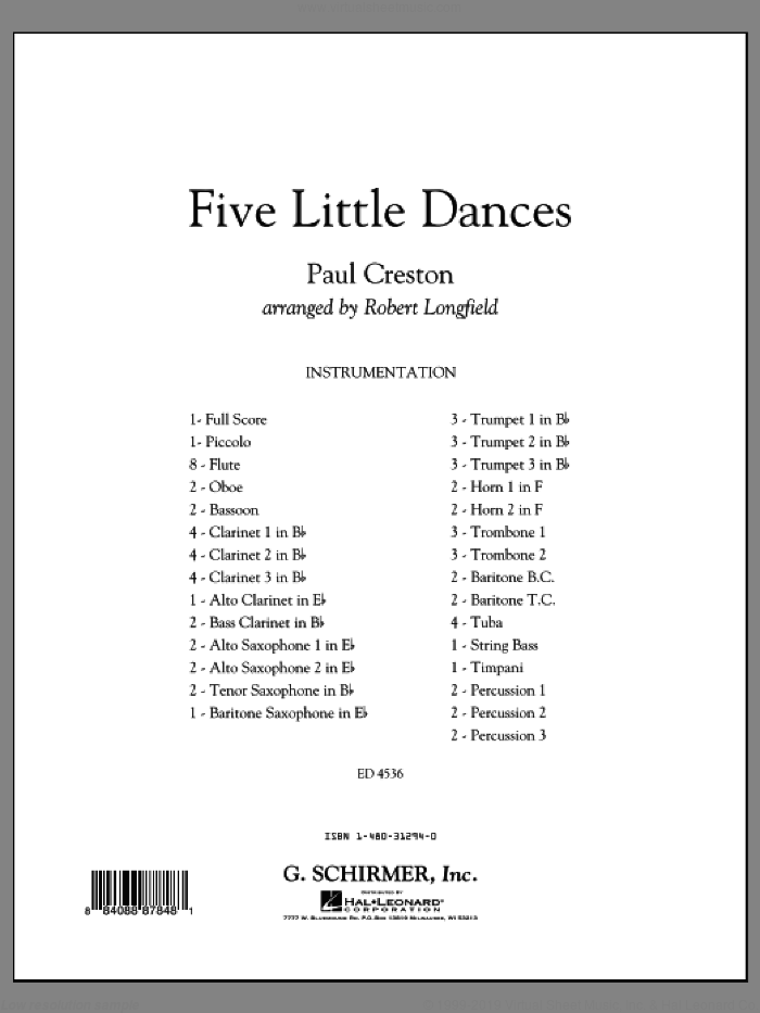 Five Little Dances (COMPLETE) sheet music for concert band by Paul Creston and Robert Longfield, classical score, intermediate concert band. Score Image Preview.