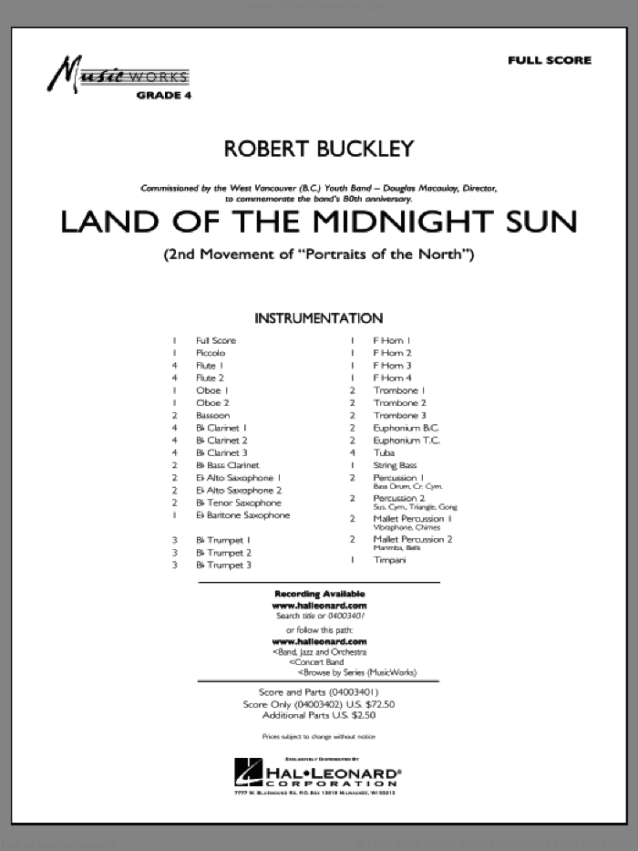 Land of the Midnight Sun sheet music for concert band (full score) by Robert Buckley