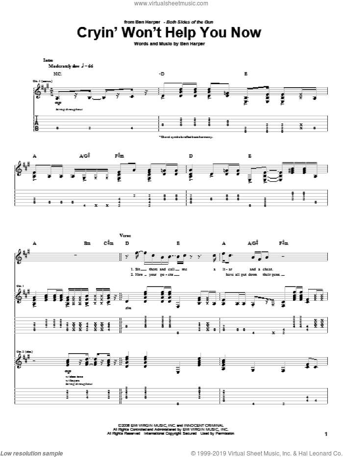 Cryin' Won't Help You sheet music for guitar (tablature) by Ben Harper. Score Image Preview.