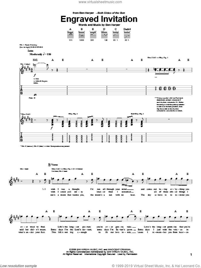 Engraved Invitation sheet music for guitar (tablature) by Ben Harper, intermediate. Score Image Preview.