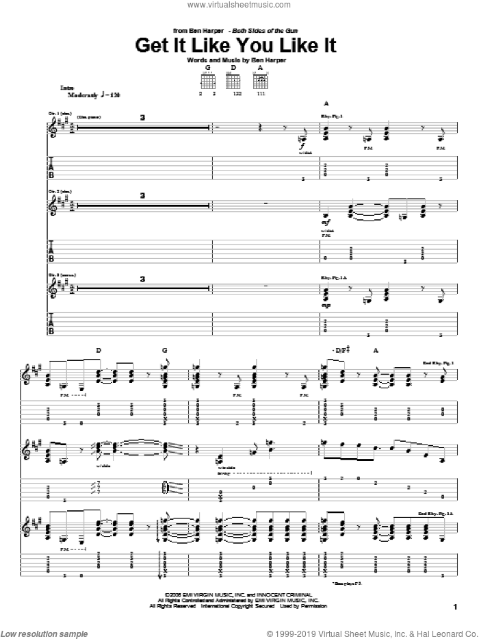 Get It Like You Like It sheet music for guitar (tablature) by Ben Harper. Score Image Preview.