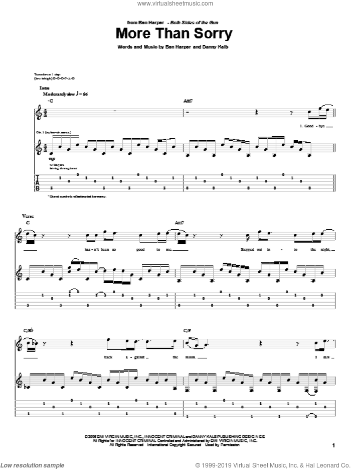 More Than Sorry sheet music for guitar (tablature) by Danny Kalb and Ben Harper. Score Image Preview.