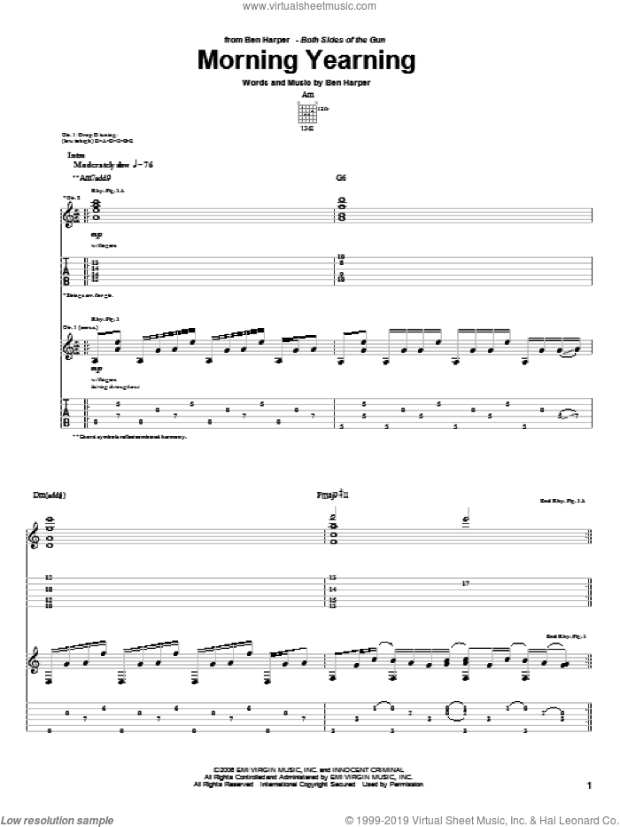 Morning Yearning sheet music for guitar (tablature) by Ben Harper. Score Image Preview.