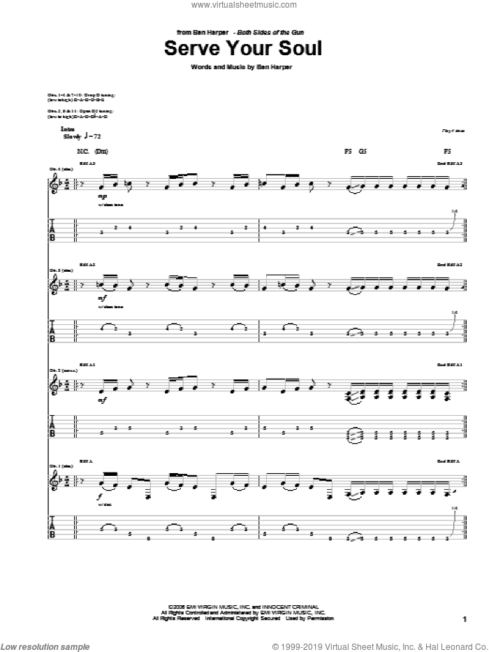 Serve Your Soul sheet music for guitar (tablature) by Ben Harper. Score Image Preview.